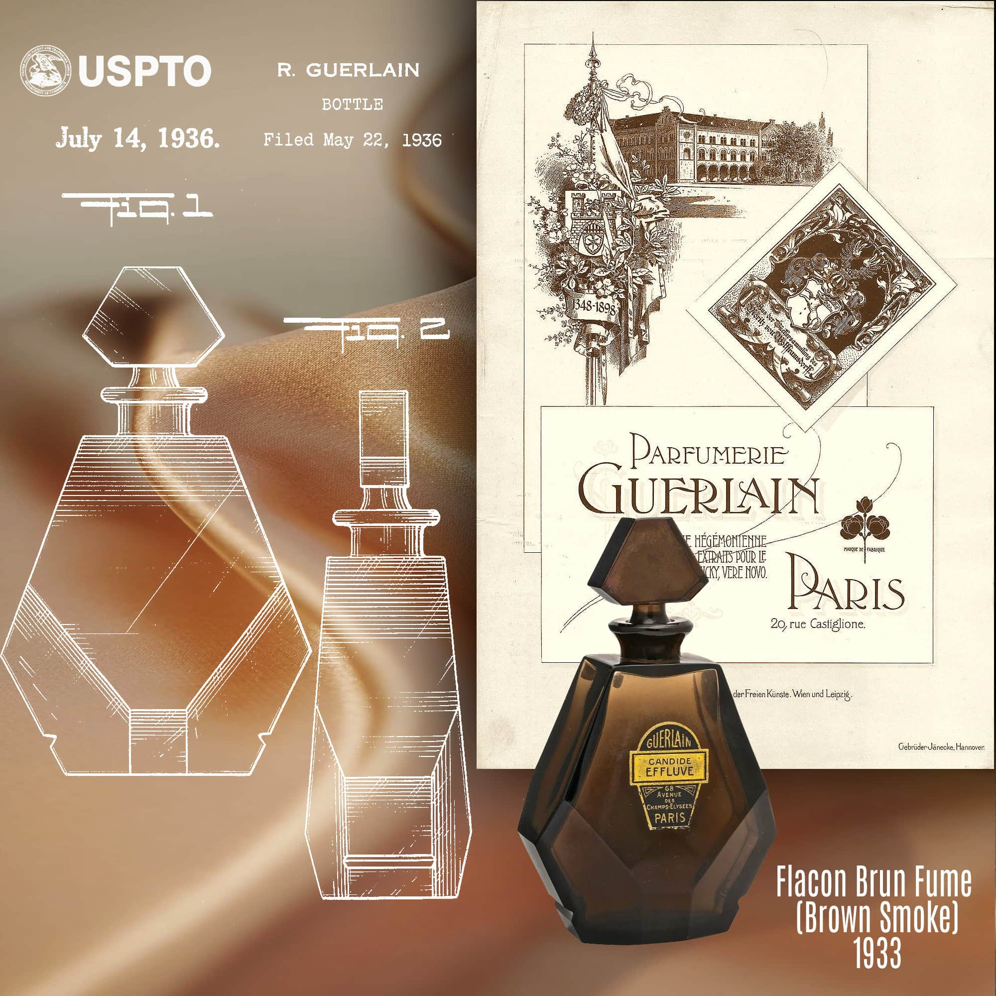 Guerlain patent for Flacon Brun Fume (Brown Smoke) 1933 - USPTO archives by RUNWAY MAGAZINE