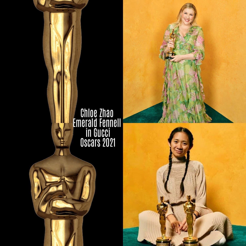 Chloe Zhao e Emerald Fennell in Gucci per gli Oscar 2021 di RUNWAY MAGAZINE