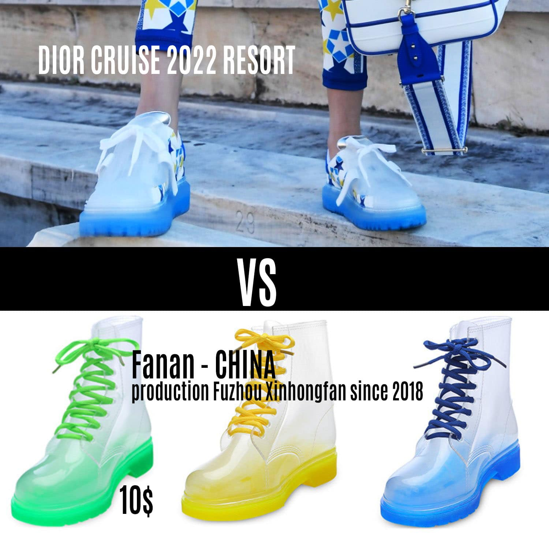 Dior jelly sneakers vs Fanan jelly boots de RUNWAY REVISTA