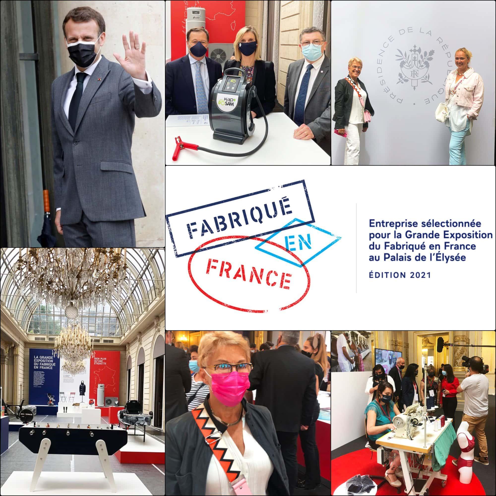 Fabriqué en France 2021 Élysée expo par RUNWAY RIVISTA. Emmanuel Macron, Agnès Pannier-Runacher, Guillaumette Duplaix