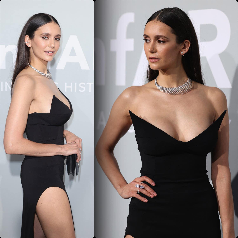 Cannes 2021 amfAR gala Nina Dobrev em vestido Mônot por RUNWAY MAGAZINE