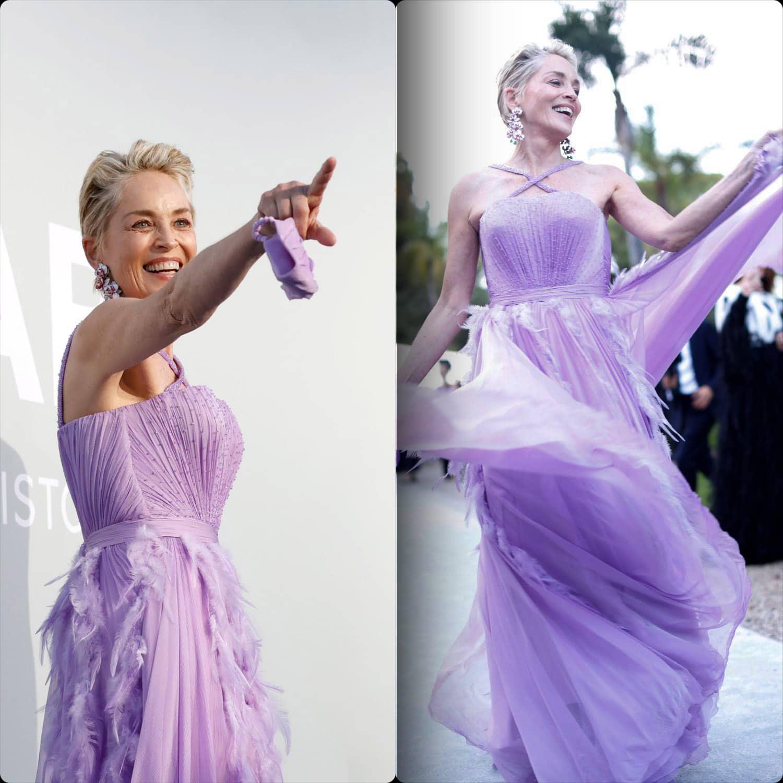 Cannes 2021 amfAR gala Sharon Stone em Dolce Gabbana por RUNWAY MAGAZINE