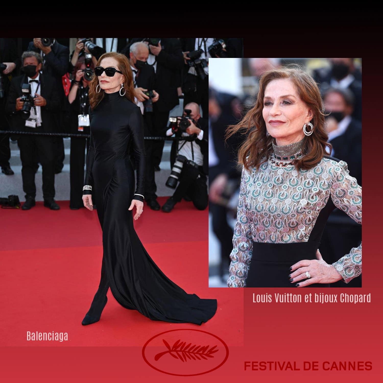 戛纳 2021 - Isabelle Huppert 身着 Louis Vuitton 和 Chopard 珠宝,以及 Balenciaga - Photo GettyImage - by RUNWAY 杂志
