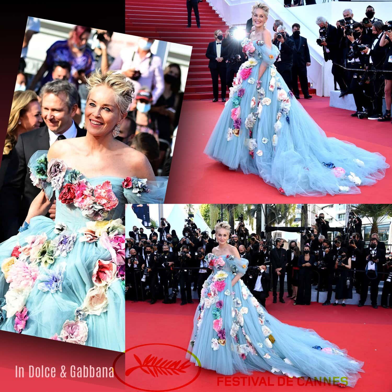 戛纳 2021 - 莎朗·斯通在 Dolce Gabbana Alta Roma - 照片 GettyImage - 由 RUNWAY 杂志