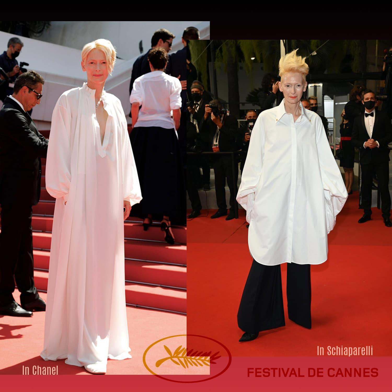 戛纳 2021 - 蒂尔达·斯文顿 (Tilda Swinton) 身着香奈儿 (Chanel) 和夏帕瑞丽 (Schiaparelli) - 照片 GettyImage - 作者 RUNWAY 杂志