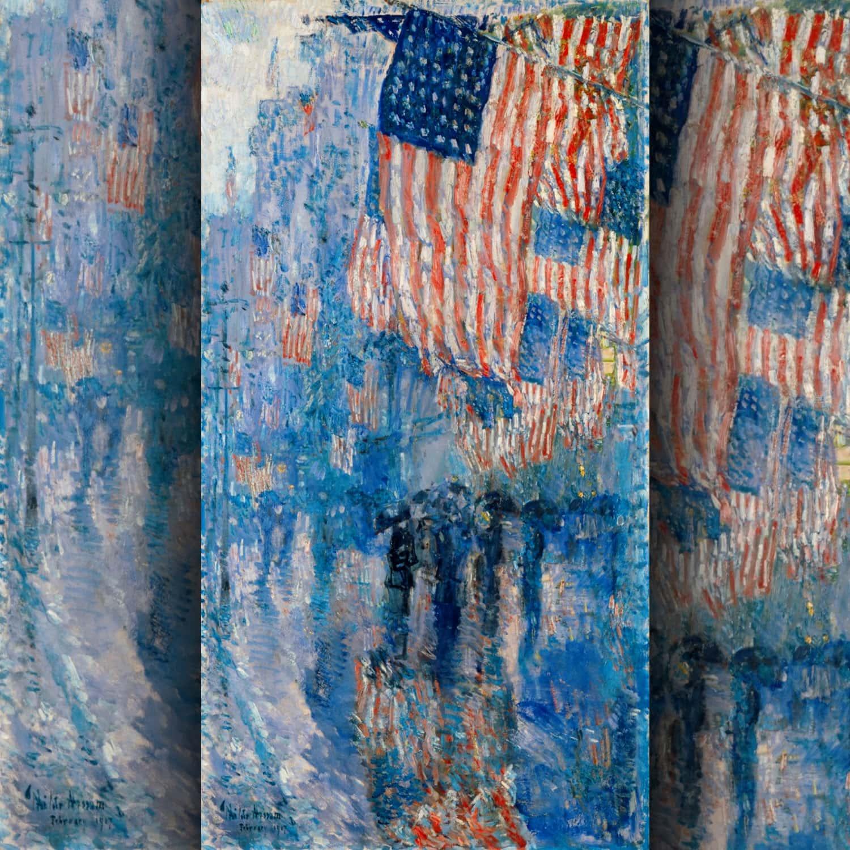 Frederick Childe Hassam - Il viale sotto la pioggia 1917