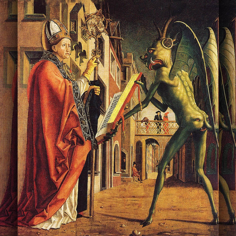 Altare dei Padri della Chiesa - Sant'Agostino e il diavolo - San Wolfgang e il diavolo 1475 di Michael Pacher