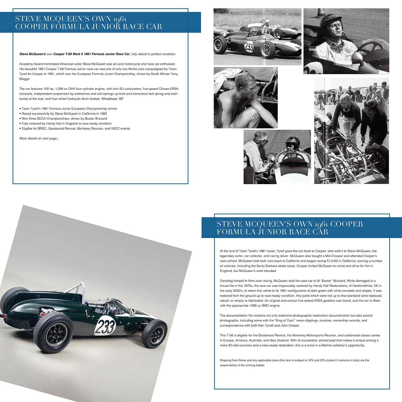 Собственный гоночный автомобиль Стива Маккуина 1961 года Cooper Formula выставлен на аукцион Unicef, Капри, 31 июля 2021 года, автор: RUNWAY ЖУРНАЛ