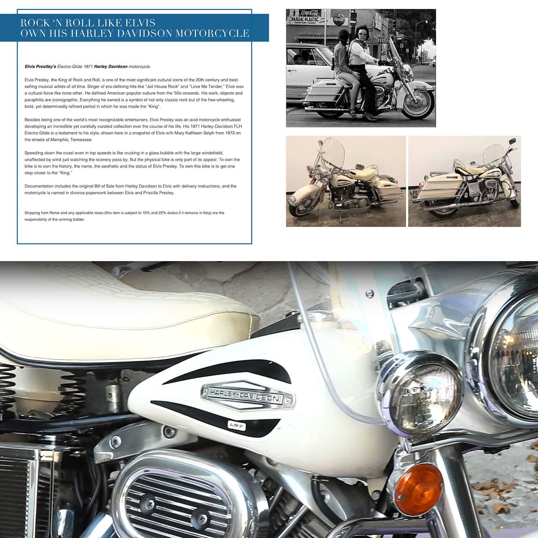 Харлей Дэвидсон Элвиса Пресли 1971 года на аукционе Unicef, Капри, 31 июля 2021 года. RUNWAY ЖУРНАЛ