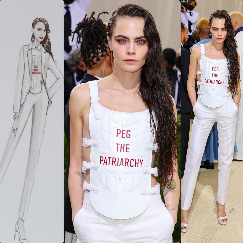 Кара Делевинь в Dior на Met Gala 2021 от RUNWAY ЖУРНАЛ