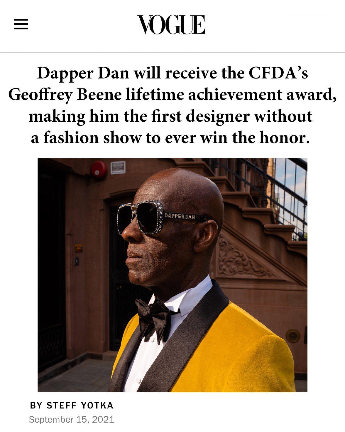 Дизайнер поддельных товаров Даппер Дэн удостоен награды журнала VOGUE за заслуги перед журналом CFDA 2021 года