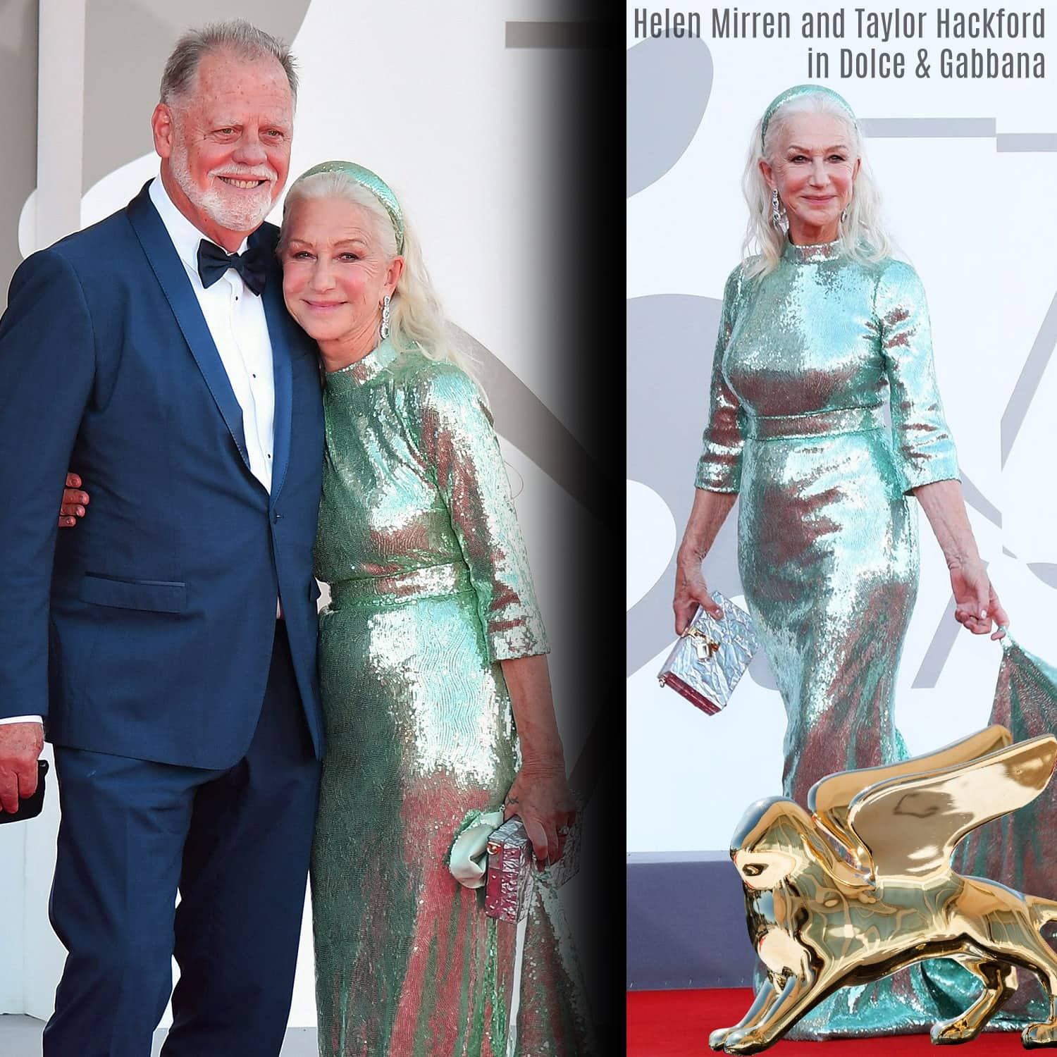 Helen Mirren and Taylor Hackford in Dolce Gabbana at 78th Venice Film Festival by RUNWAY MAGAZINE