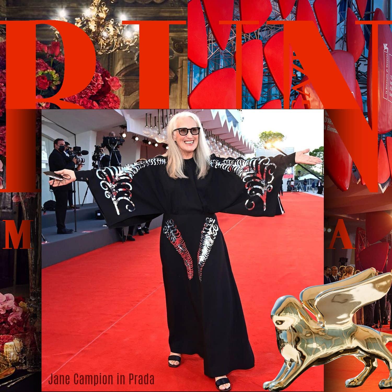 Jane Campion in Prada at 78th Venice International Film Festival by RUNWAY MAGAZINE