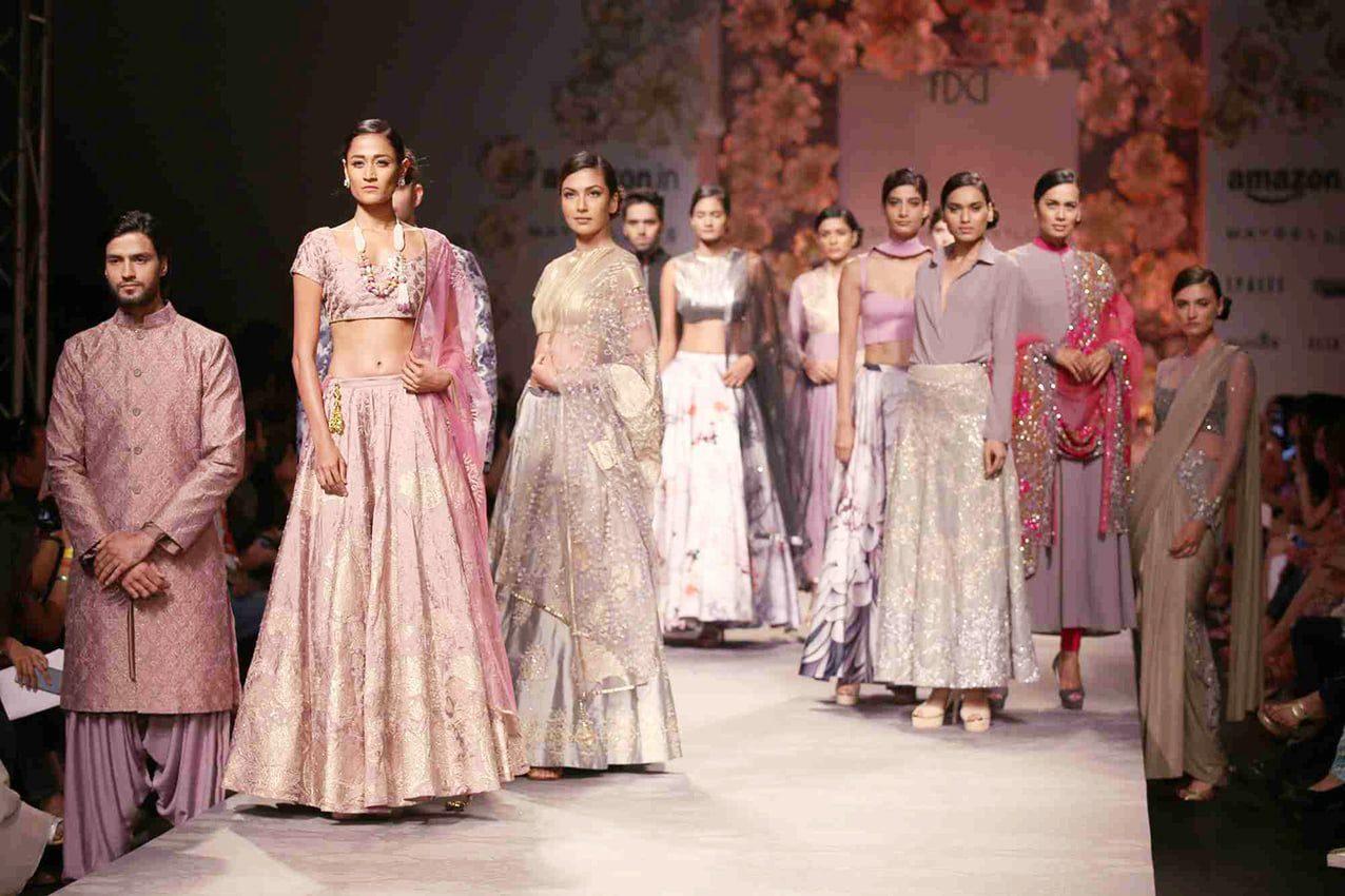 Models walk the ramp showcasing fashion designer Siddhartha Tytler's creations during Amazon India Fashion Week in New Delhi, on Oct 12, 2015. (Photo: Amlan Paliwal/IANS)